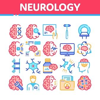 Conjunto de iconos de colección de medicina de neurología