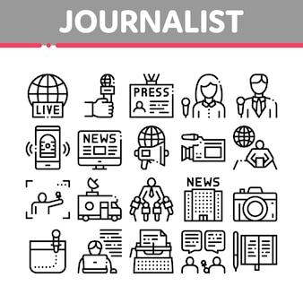 Conjunto de iconos de colección periodista reportero