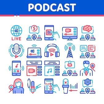 Conjunto de iconos de colección de podcast y radio