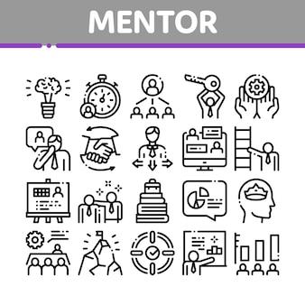 Conjunto de iconos de colección de relación de mentor