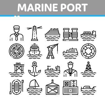 Conjunto de iconos de colección de transporte de puerto marítimo