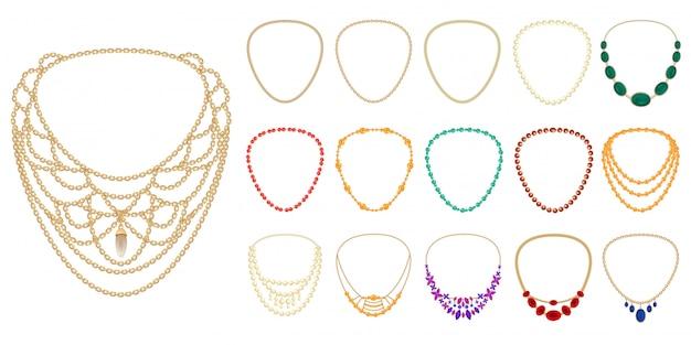 Conjunto de iconos de collar