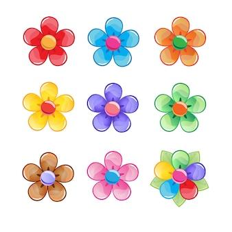 Conjunto de iconos de color de flores.