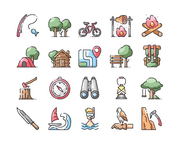 Conjunto de iconos de color de línea de activitis al aire libre