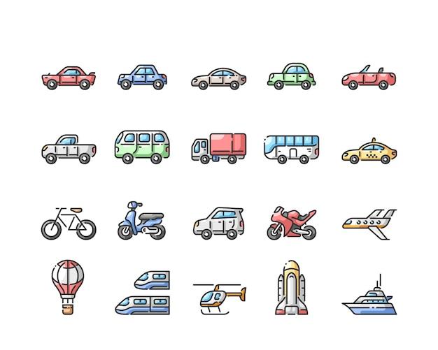 Conjunto de iconos de color de línea de transporte
