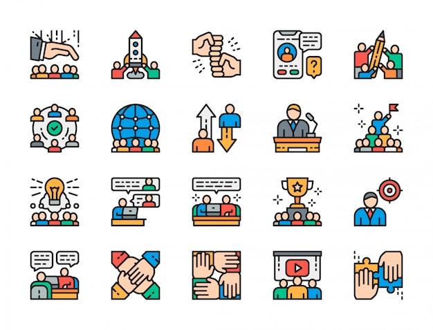 Conjunto de iconos de color plano de trabajo en equipo.