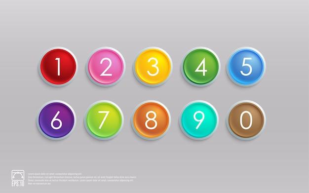 Conjunto de iconos de colores 3d con número