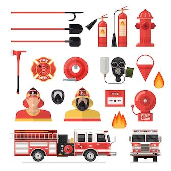 Conjunto de iconos de colores aislados de bombero