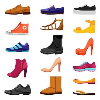 Conjunto de iconos de colores de calzado