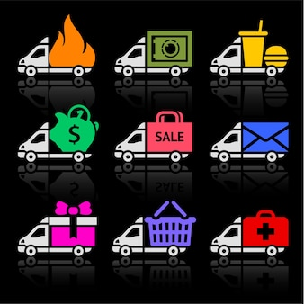 Conjunto de iconos de colores de camión de reparto