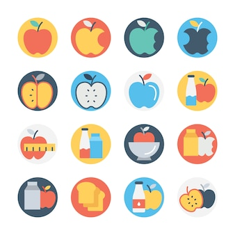 Conjunto de iconos de colores circulares de frutas