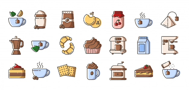 Conjunto de iconos de colores de contorno: café y té, equipo para preparar café, taza o taza con bebidas calientes