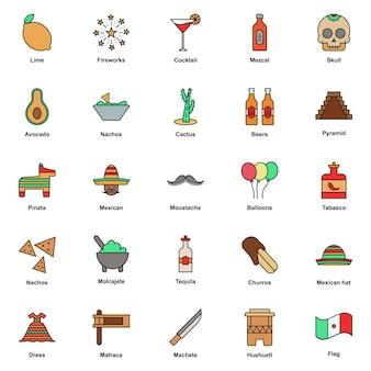 Conjunto de iconos de colores de la cultura mexicana. festival del cinco de mayo