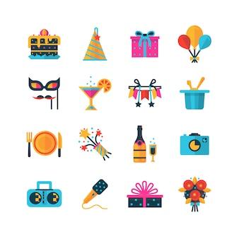 Conjunto de iconos de colores de fiesta