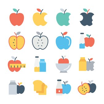 Conjunto de iconos de colores de frutas