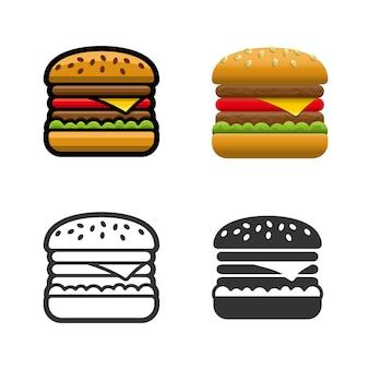 Conjunto de iconos de colores de hamburguesa