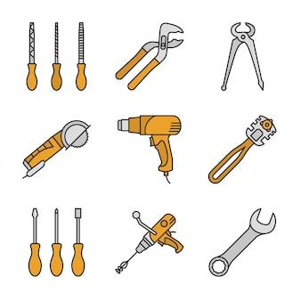 Conjunto de iconos de colores de herramientas de construcción