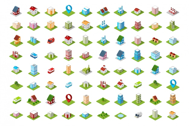 Un conjunto de iconos de colores isométricos de la ciudad.