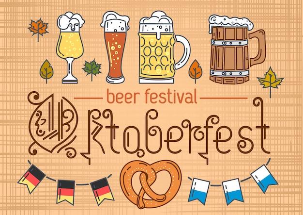 Conjunto de iconos de colores de línea para oktoberfest. festival de cerveza. diseño de oktoberfest. ilustración