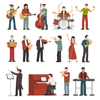Conjunto de iconos de colores de músicos