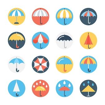 Conjunto de iconos de colores de paraguas