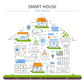 Conjunto de iconos de colores planos de casa inteligente