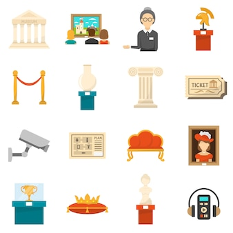 Conjunto de iconos de colores planos decorativos del museo