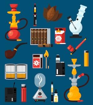 Conjunto de iconos de colores planos de fumar