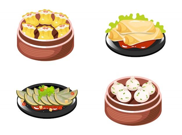 Conjunto de iconos de colores de platos chinos. tipos de albóndigas con relleno de carne y verduras. rollitos de primavera y ensalada de verduras. cocina tradicional oriental. calabaza con salsa. ilustraciones