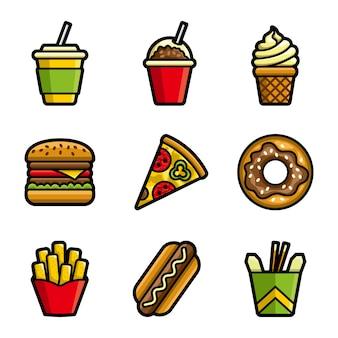 Conjunto de iconos de colores de vector de comida rápida