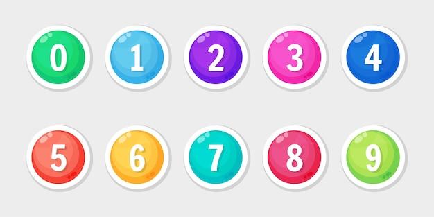 Conjunto de iconos de colores con viñeta de número