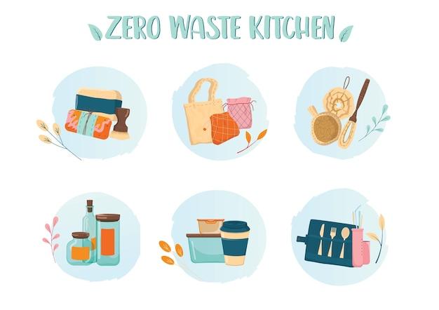 Conjunto de iconos de colorido de cocina de cero residuos. colección de elementos ecológicos