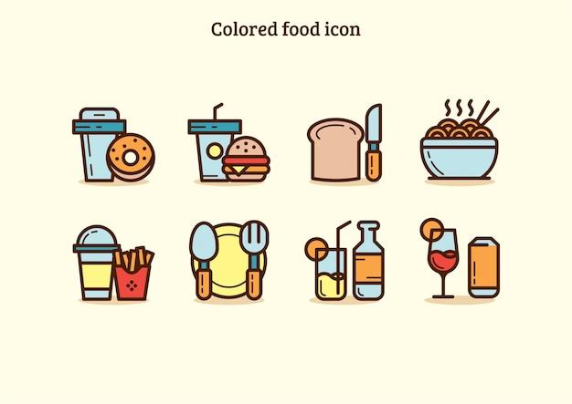 Conjunto de iconos coloridos de comida chatarra