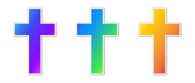 Conjunto de iconos coloridos cruz cristiana.
