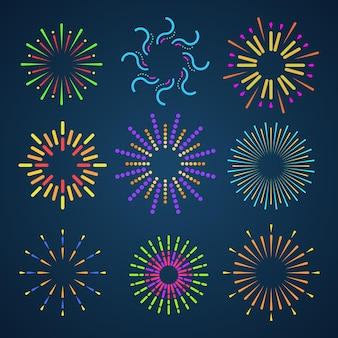 Conjunto de iconos de coloridos fuegos artificiales.