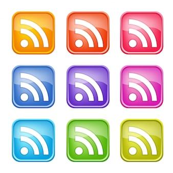 Conjunto de iconos coloridos de rss