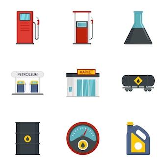 Conjunto de iconos de combustible de gasolina, estilo plano