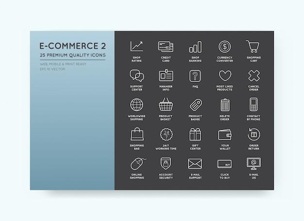 Conjunto de iconos de comercio electrónico de compras y en línea.