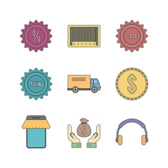 Conjunto de iconos de comercio electrónico para uso personal y comercial