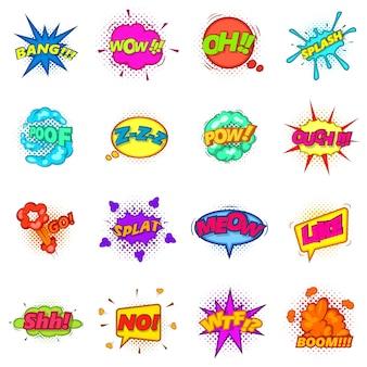 Conjunto de iconos de cómic nube de sonido conjunto