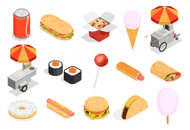Conjunto de iconos de comida callejera