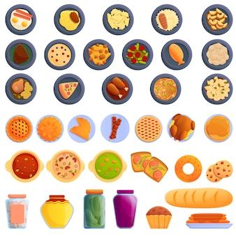 Conjunto de iconos de comida casera, estilo de dibujos animados
