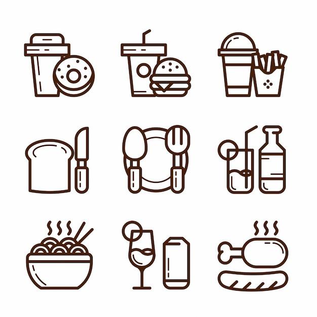Conjunto de iconos de comida chatarra