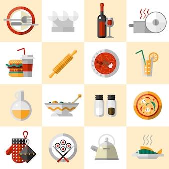 Conjunto de iconos de comida de cocina