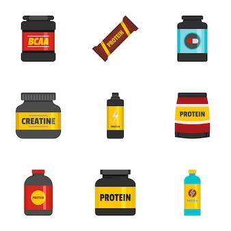 Conjunto de iconos de comida deportiva, estilo plano