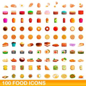 Conjunto de iconos de comida, estilo de dibujos animados