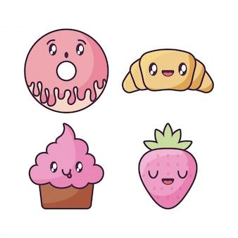 Conjunto de iconos de comida en estilo kawaii
