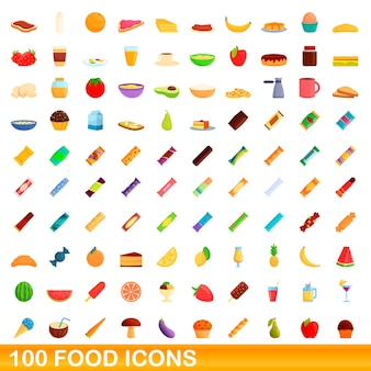 Conjunto de iconos de comida. ilustración de dibujos animados de iconos de comida en fondo blanco