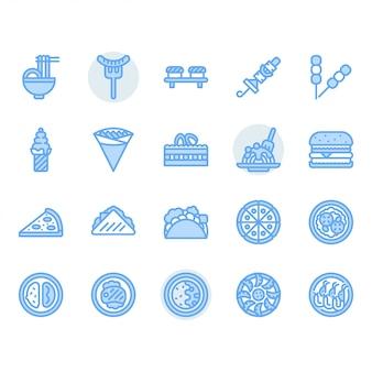 Conjunto de iconos de comida internacional