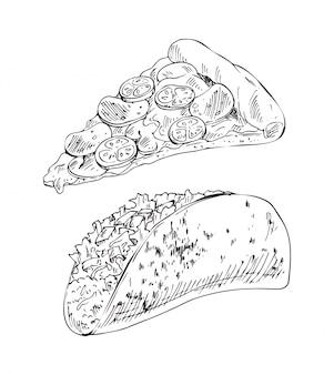 Conjunto de iconos de comida para llevar pizza con queso y relleno de taco para llevar